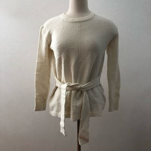 MADEWELL Tie Front Pullover Ivory Sweater